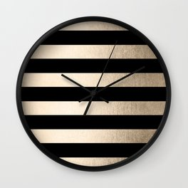 Simply Striped White Gold Sands on Midnight Black Wall Clock
