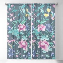 Colorful Spring flowers bloom Sheer Curtain