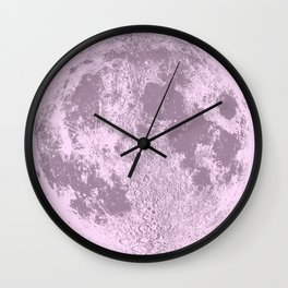 Pink Full Moon Print, by Christy Nyboer Wall Clock