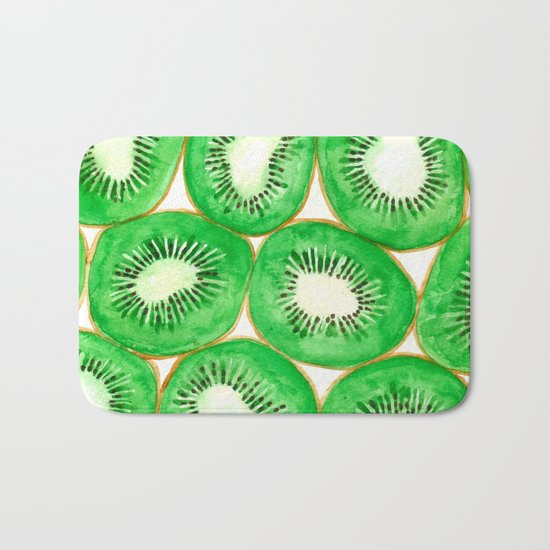Watercolor kiwi slices pattern Bath Mat