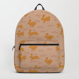 Golden Rabbits with Coral Flowers Backpack