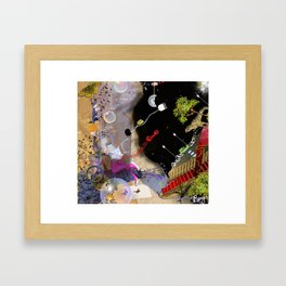 beautiful woman floating among abstract objects, raster illustration Framed Art Print