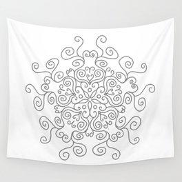 Gray Line Swirl Mandala Wall Tapestry