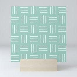 Basket Weave Mudcloth, Sea Glass Mini Art Print