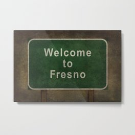 Welcome to Fresno road sign illustration Metal Print