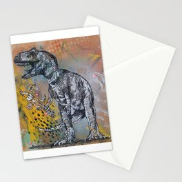T-Rex! with Flowers Stationery Cards