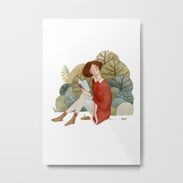Girl Reading in the Forest Metal Print
