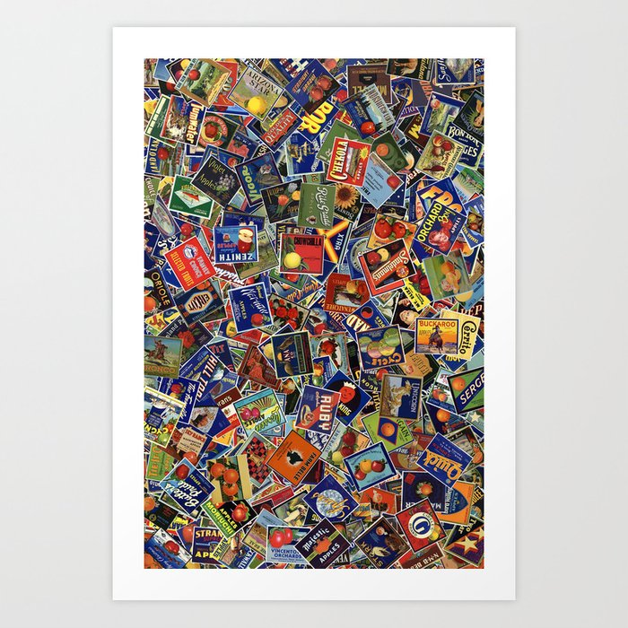 Fruit Crate Collage Art Print