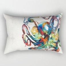 Colorful Octopus Art by Sharon Cummings Rectangular Pillow