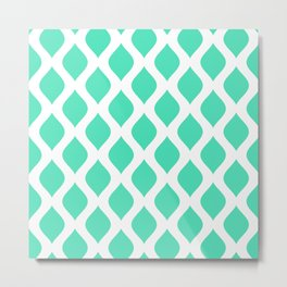 Menthol green and white curved lines pattern Metal Print