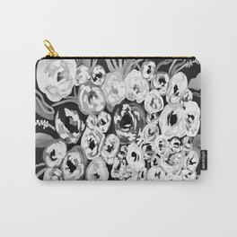 Black and White Floral Carry-All Pouch