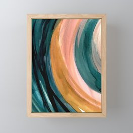 Breathe: a vibrant bold abstract piece in greens, ochre, and pink Framed Mini Art Print