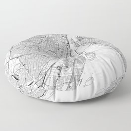 Montreal White Map Floor Pillow