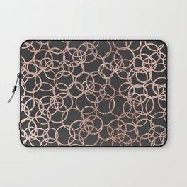 Modern Rose Gold Circles on Charcoal Black Laptop Sleeve