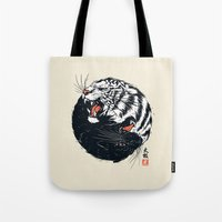 tiger Tote Bags featuring Taichi Tiger by Steven Toang