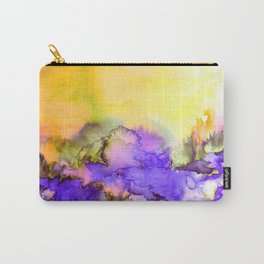 INTO ETERNITY, YELLOW AND LAVENDER PURPLE Colorful Watercolor Painting Abstract Art Floral Landscape Carry-All Pouch