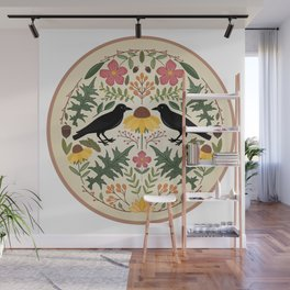 Crows, Wild Roses, Thistles And Sunflowers Wall Mural