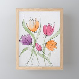 Colorful Dancing Tulips Framed Mini Art Print