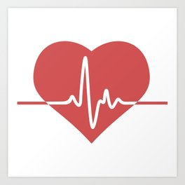 Heart with Cardiogram Art Print