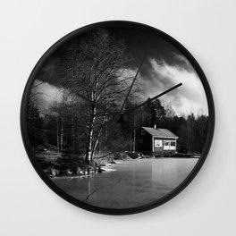 Sauna on a Finnish Lake Wall Clock