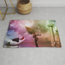 Little fairy with birds and cats Rug