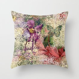 Garden shabby texture Throw Pillow