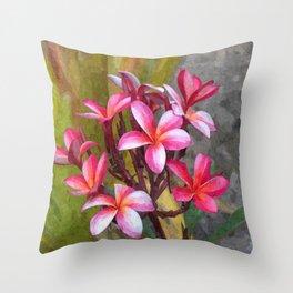Hawaiian Pink Plumera Throw Pillow