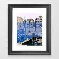 venice black and white and color Framed Art Print