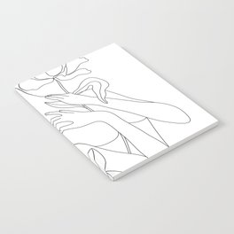 Minimal Line Art Woman with Peonies Notebook