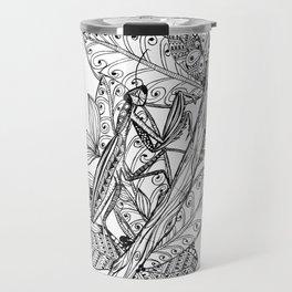 Praying Mantis in Ink Travel Mug