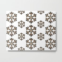Black and Rose-Gold Mandala Snowflake Textile Metal Print