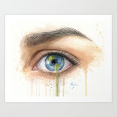 Crying Earth Eye Art Print