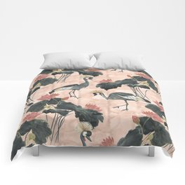 lotus and cranes Comforters