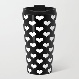 Black White Hearts Metal Travel Mug