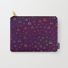 Watercolor rainbow colorful triangles on violet Carry-All Pouch