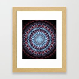 Detailed mandala in red and blue Framed Art Print
