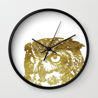 gold foil Wall Clocks featuring Faux Gold Foil Owl by Stacie Clarke