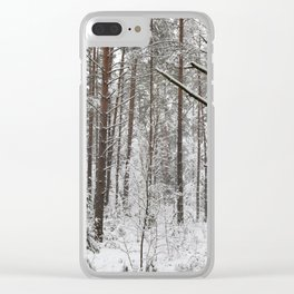 Pine trunks in winter Clear iPhone Case