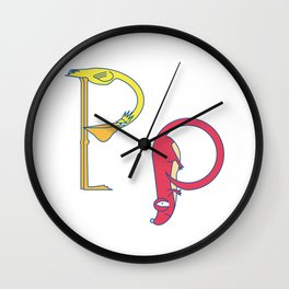 P Uppercase/Lowercase Pair, no border Wall Clock