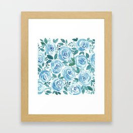 Pale blue roses . Watercolor . Framed Art Print