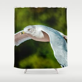 A Seagull Flys Past The Trees. Photograph Shower Curtain