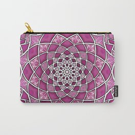 12-Fold Mandala Flower in Pink Carry-All Pouch