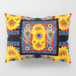 BLUE PEACOCK JEWELED SUNFLOWERS DECO ABSTRACT Pillow Sham