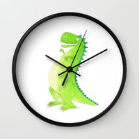 t rex Wall Clocks featuring T-rex by Alison Sadler's Illustrations