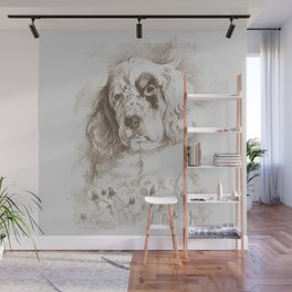 English Setter puppy Monochrome sgraffito Wall Mural