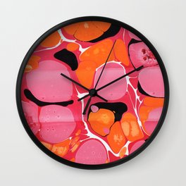 Red and Orange 'Stone' Marbling Wall Clock