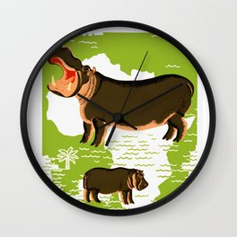 Vintage African Hippo Zoo Ad Wall Clock