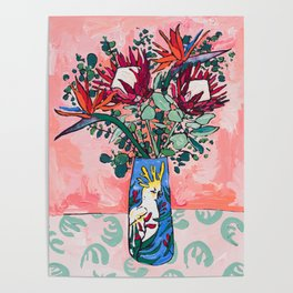 Cockatoo Vase on Painterly Pink Poster
