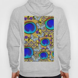 WHITE BUTTERFLIES & BLUE PEACOCK FEATHER EYES Hoody
