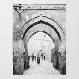 Black and white street photography | Medina of Marrakech | Travel photo print Poster